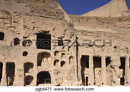 Stock Photography of China. Datong. Yungang caves. Ancient.