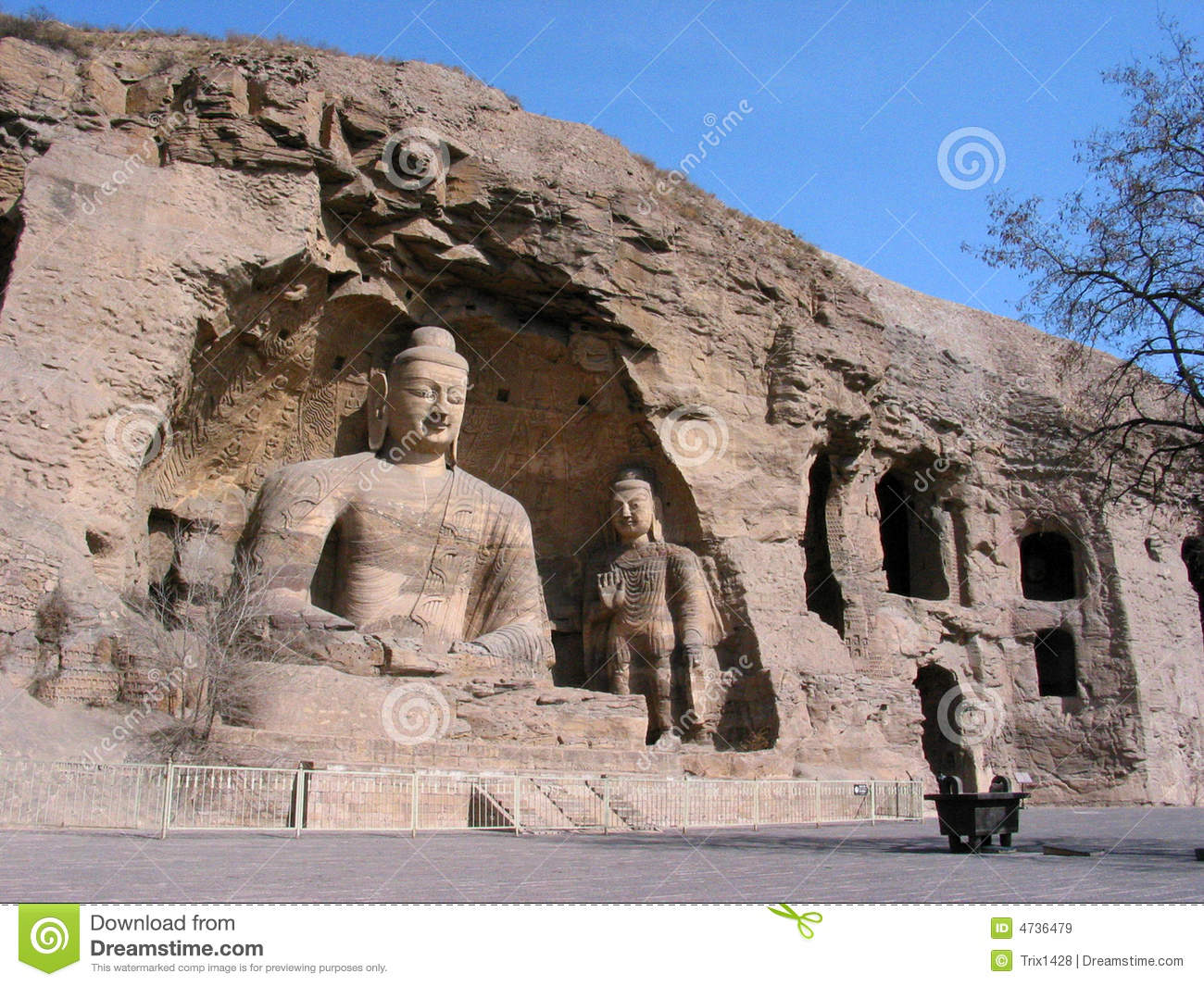 Buddha Cave Of Yungang Grottoes Royalty Free Stock Image.