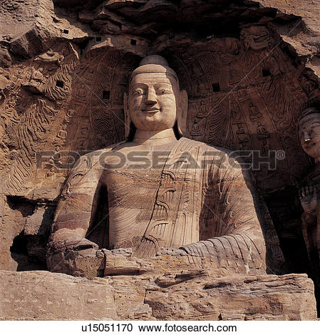 Stock Photography of Close shot of stone Buddha of Yungang Grotto.