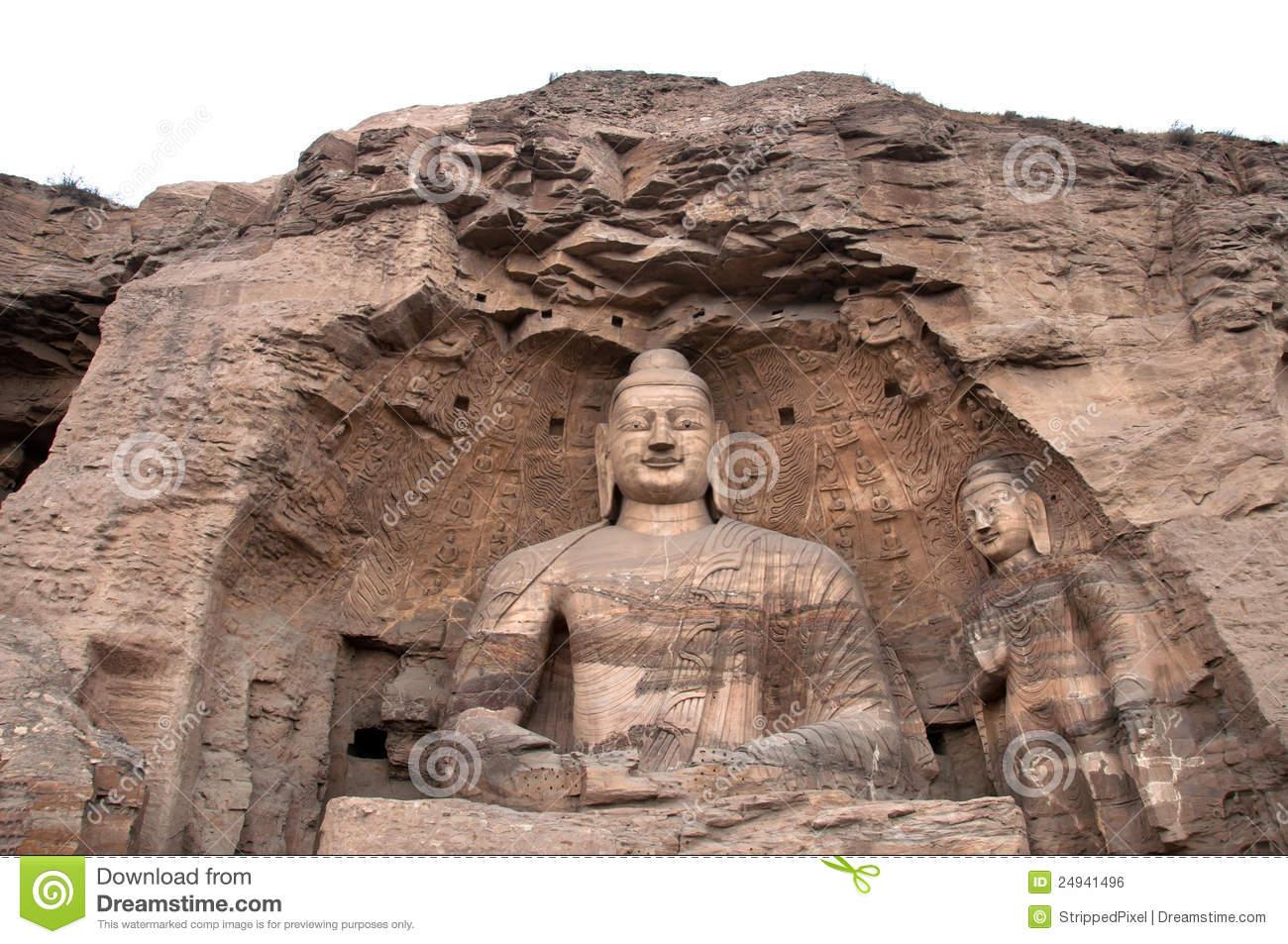 Giant Buddha At The Yungang Grottoes, Shanxi Royalty Free Stock.