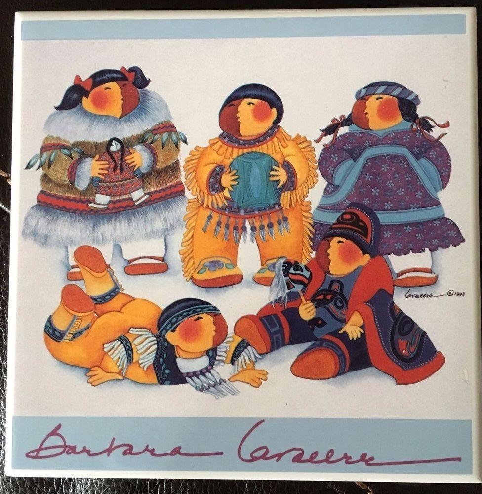 Barbara Lavallee Art Tile Trivet 1993 five children ALASKA.