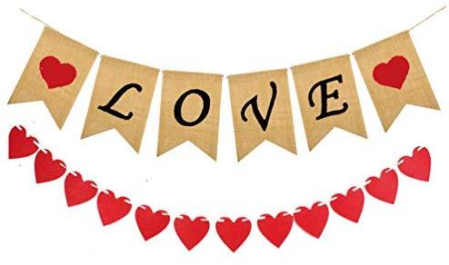 Love Burlap Banner, Felt Heart Banners, Valentines Day.