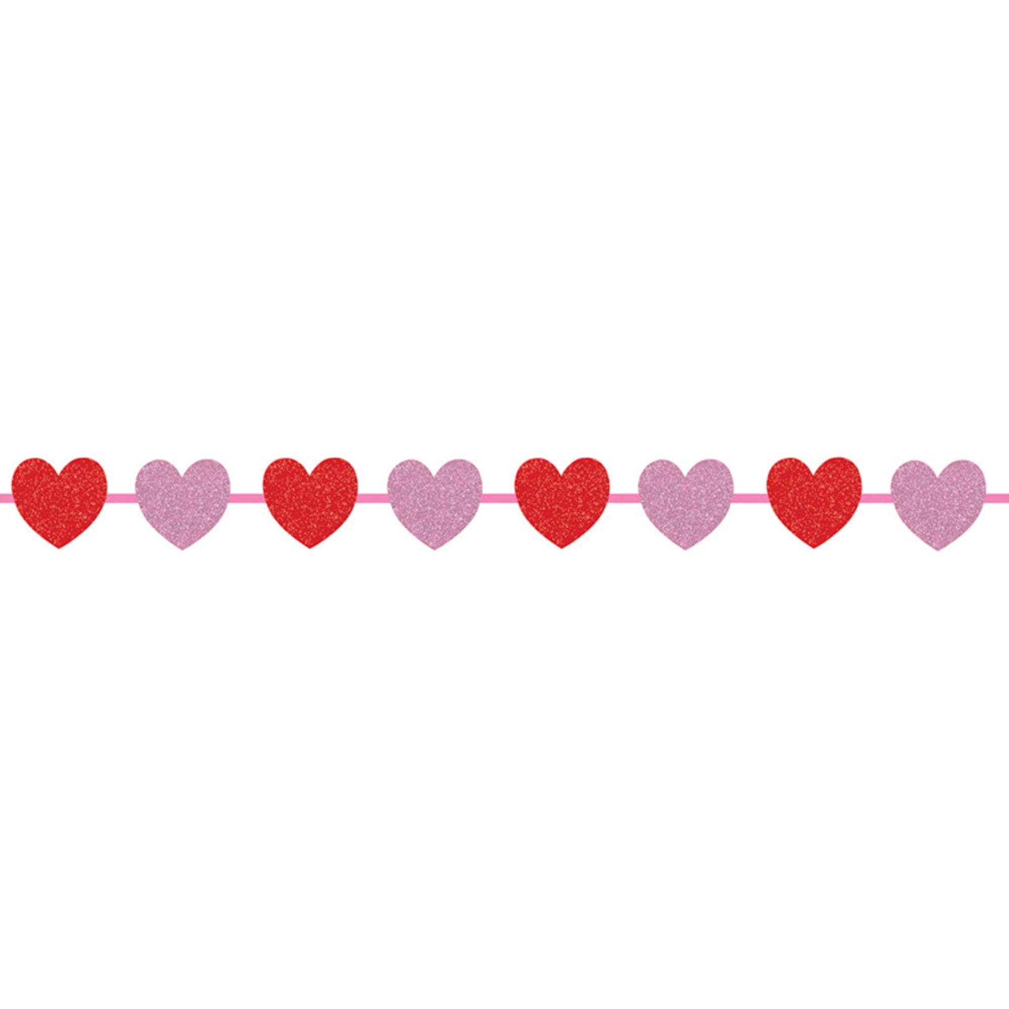 Glitter Hearts Ribbon Garland.