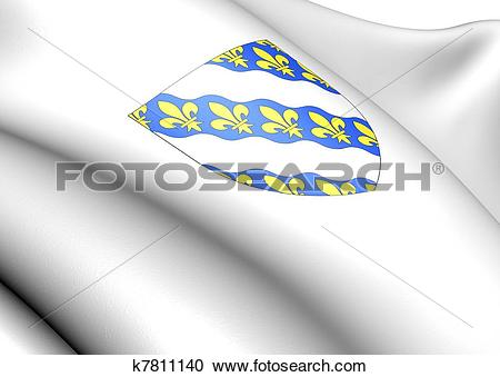 Stock Illustrations of Yvelines department coat of arms, France.