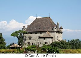 Stock Photography of Yvoire castle, France.