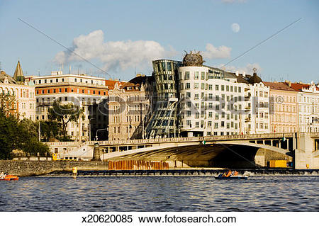Stock Image of Buildings on a waterfront, New Town, Dancing House.