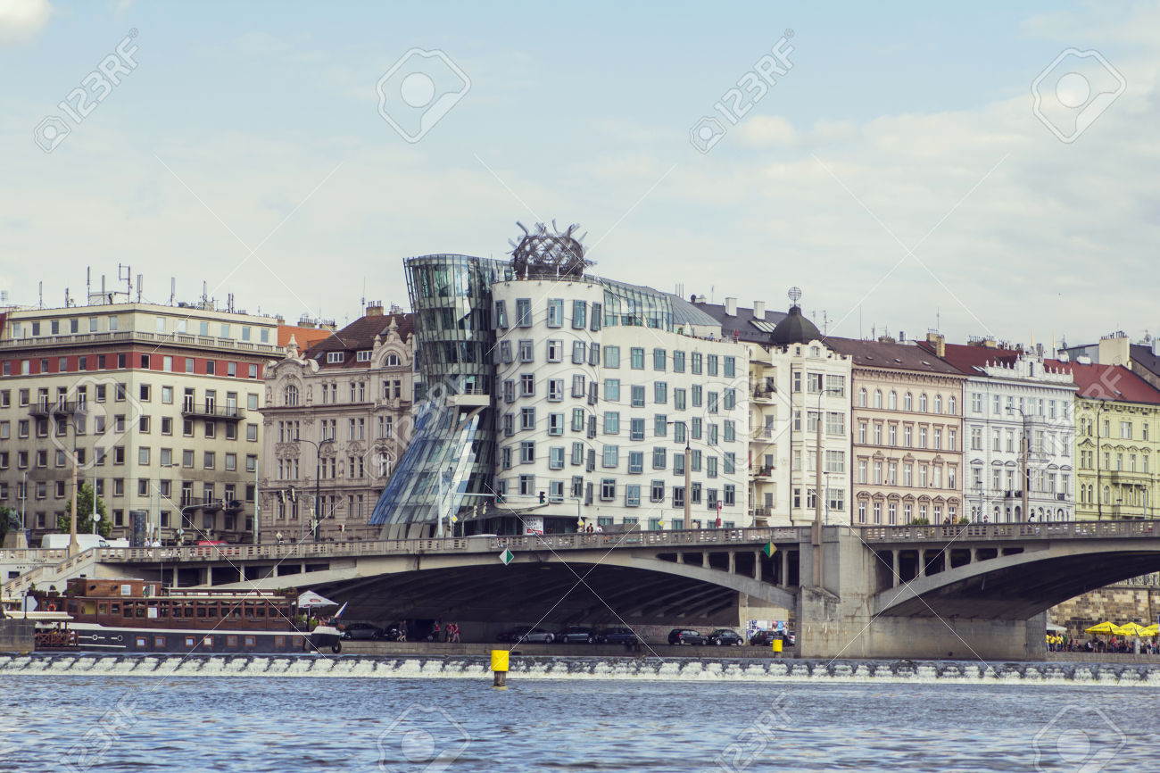 "Waterfront Views And Towers ""Dancing House\"" With The Vltava."