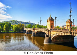 Stock Image of Beautiful Prague bridges and quays.