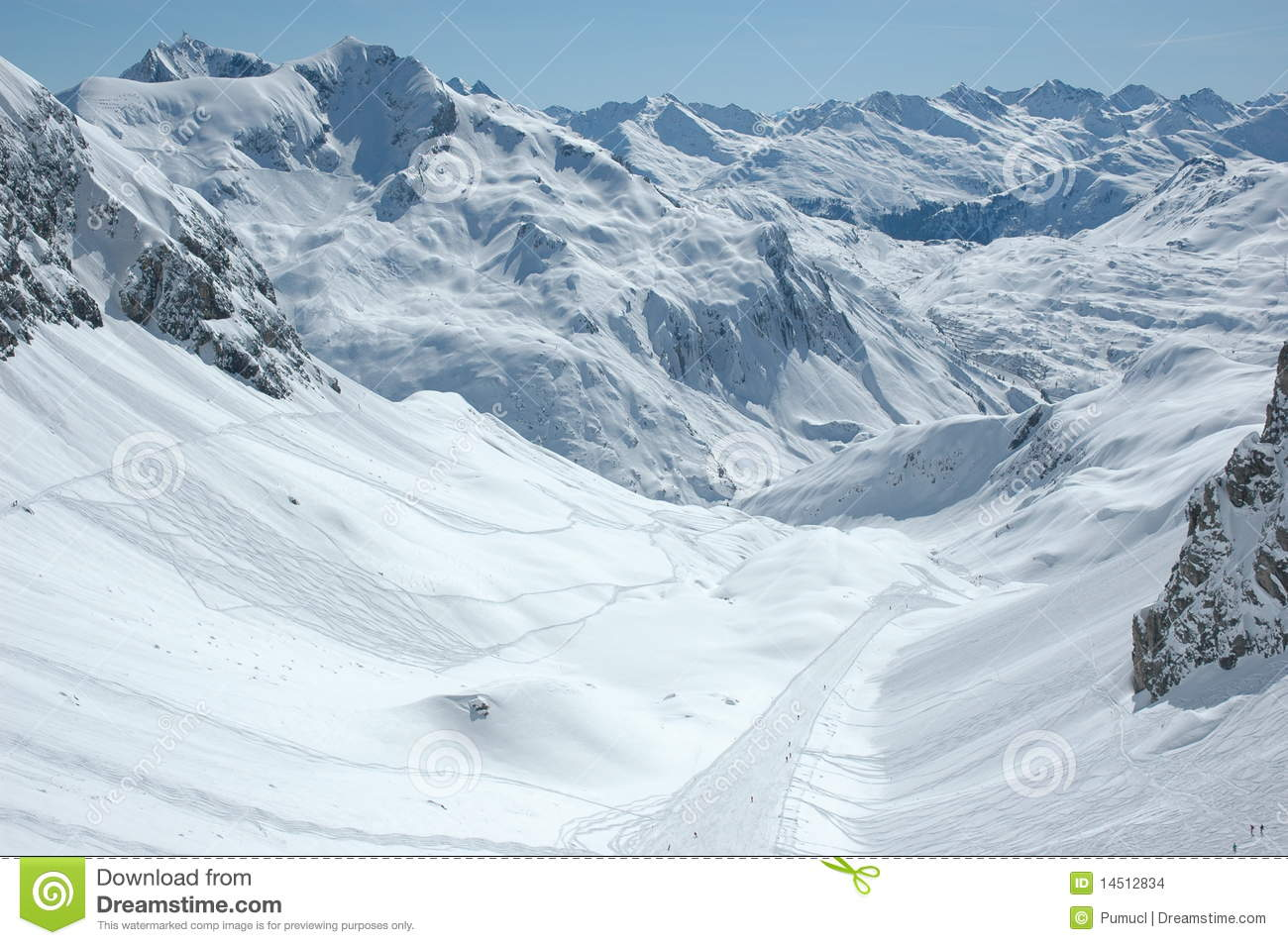 Downhill Ski Slope To Zürs Stock Images.