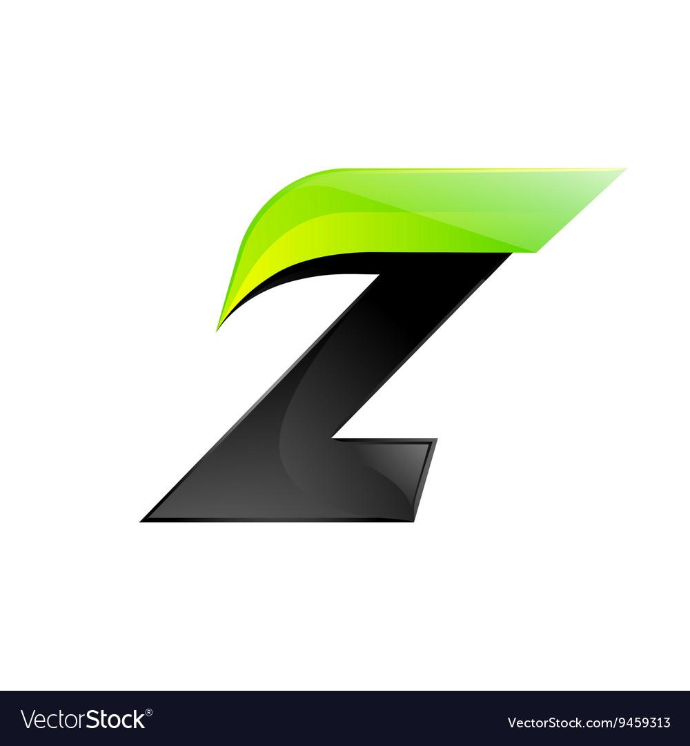Z letter black and green logo design Fast speed.