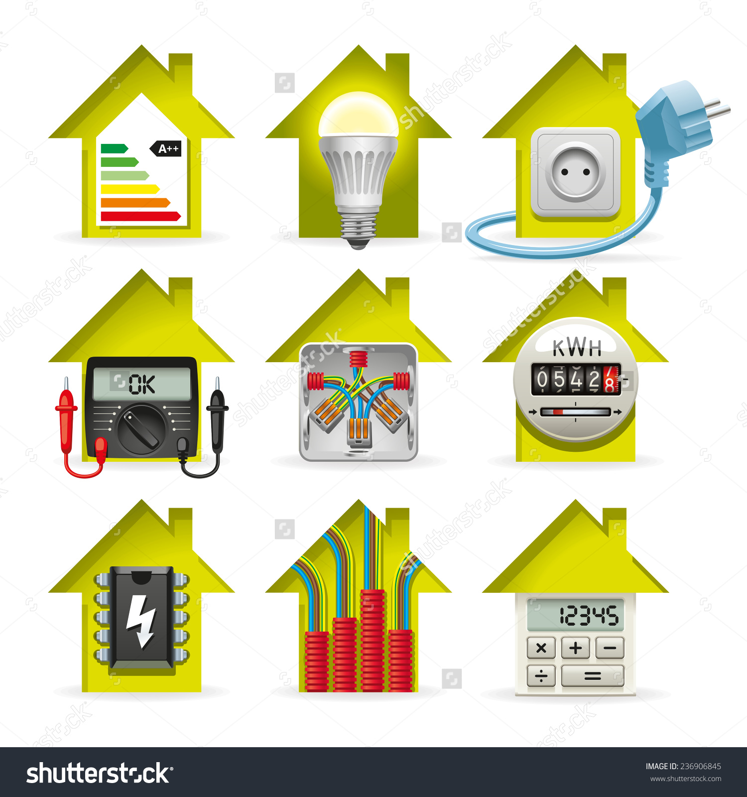 Icons Installation Electrical Equipment Wiring House Stock Vector.
