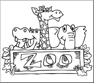 Black And White Clipart Of Zoo.