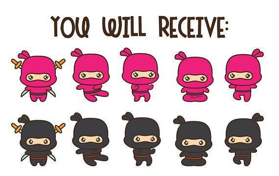 Ninja clipart, kawaii ninja clipart, ninja clip art, ninja.