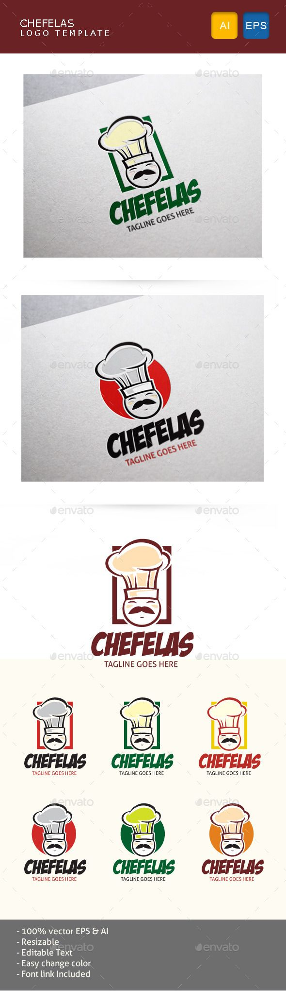 Chef character logo for food, restaurant, and any cooking.