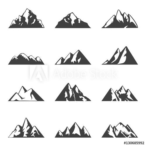 Vector mountain set. Simple black and white icons or design.