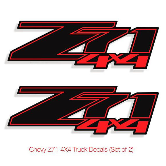 Rouge & Z71 Chevrolet 4 X 4 Stickers Autocollants camion.