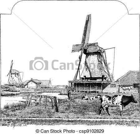 EPS Vectors of Mills, Zaandam (Holland), vintage engraving.