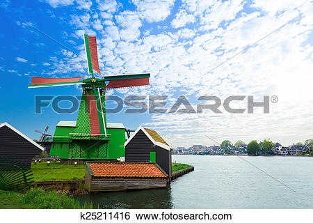 Stock Images of Authentic Zaandam mills on the water channel.