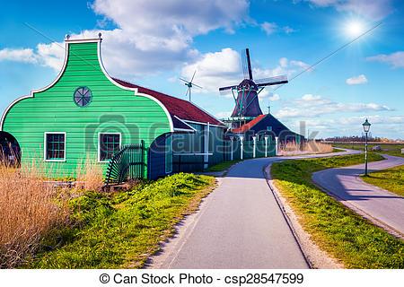 Stock Photographs of Authentic Zaandam mills in Zaanstad village.