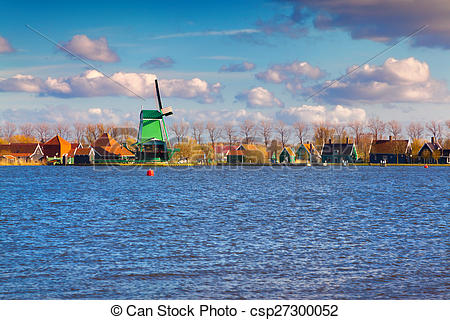 Stock Images of Authentic Zaandam mills on the water channel in.