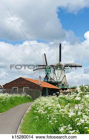 Stock Photo of Windmills at Dutch Zaanse Schans k15280014.