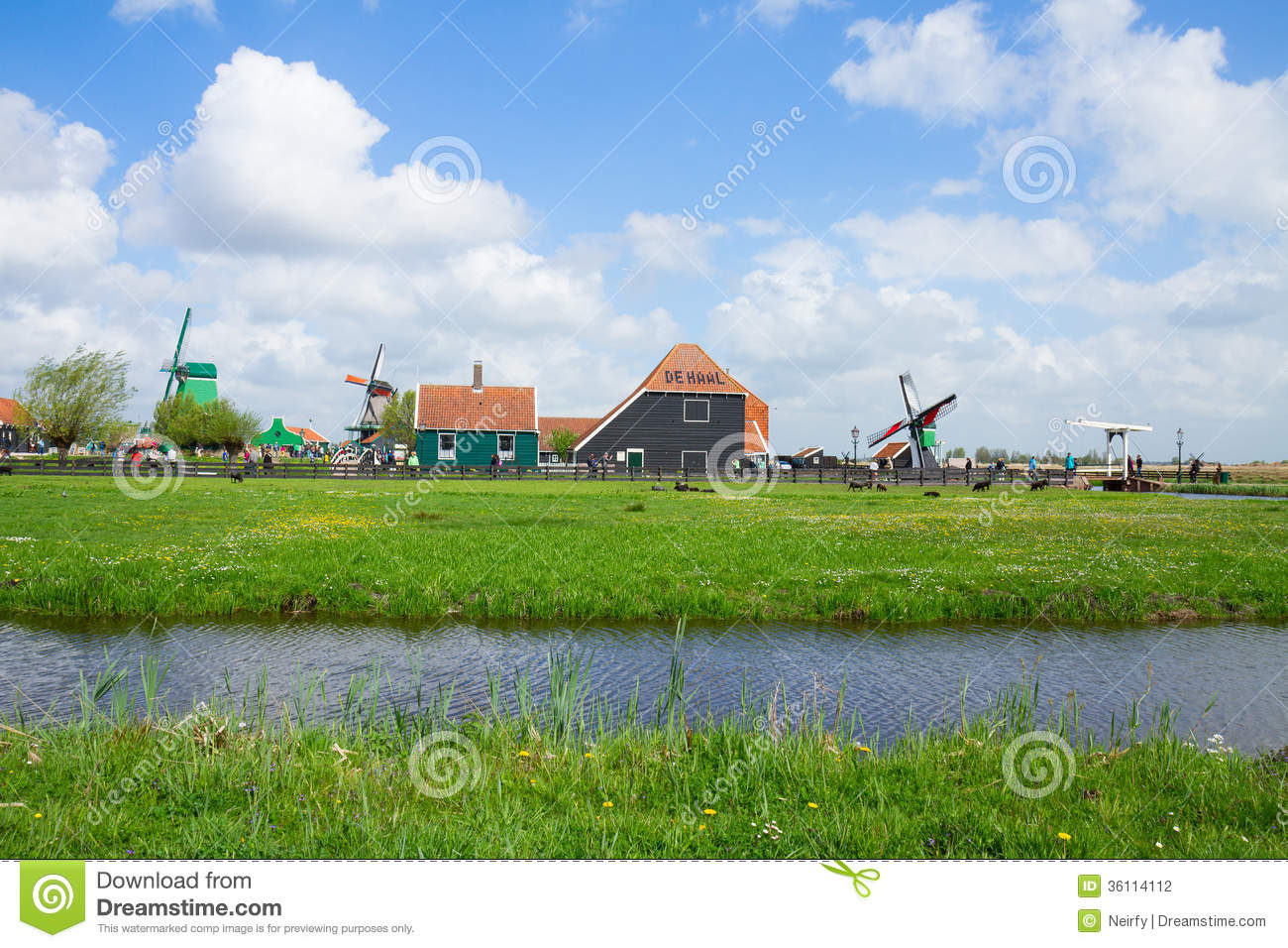 Skyline Of Old Town Of Zaanse Schans Stock Photography.
