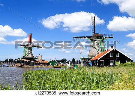 Stock Image of traditional windmill in Zaanse Schans k12273535.