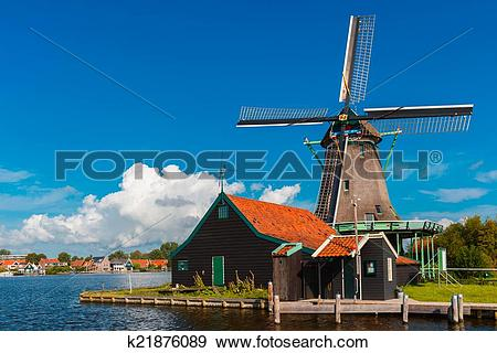 Stock Photograph of Windmills in Zaanse Schans, Holland.