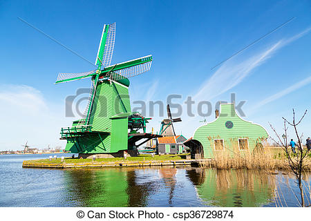 Picture of Windmill in Zaanse Schans, traditional village.