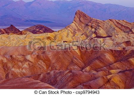 Drawings of Zabriskie Point Death Valley.