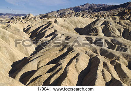Stock Photography of Eroded badlands at Gower Gulch seen from.