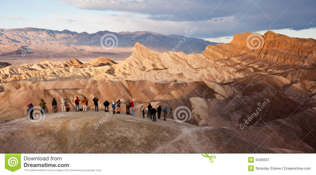 Tourists At Zabriskie Point In Death Valley Royalty Free Stock.