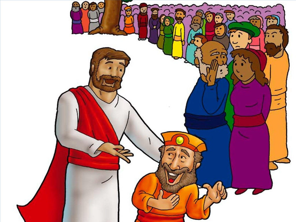 FreeBibleimages :: Jesus meets Zacchaeus :: The despised tax.