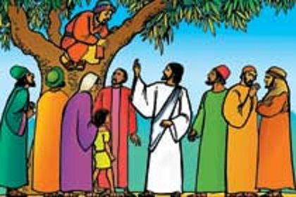 Free Clip Art of Zacchaeus and Jesus.