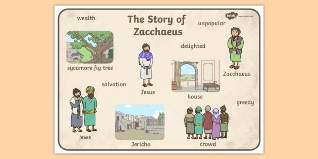 Zacchaeus the Tax Collector Bible Story Word Mat.