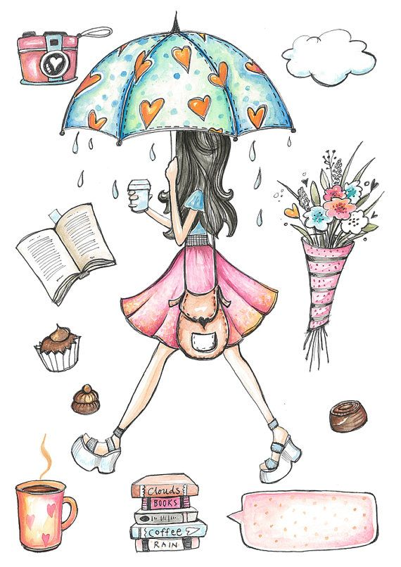 Planner Girl Clip Art, Fashion Illustration, Cafe girl, Glam.