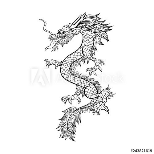 Fototapeta Chinese dragon hand drawn vector illustration. Mythical creature  ink pen sketch. Black and white clipart. Serpent freehand drawing..
