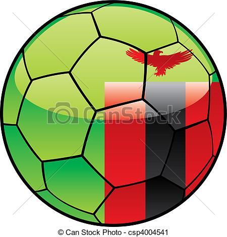 Vector Clip Art of Zambia flag on soccer ball.