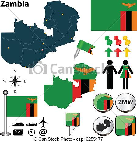 Vectors Illustration of Map of Zambia.