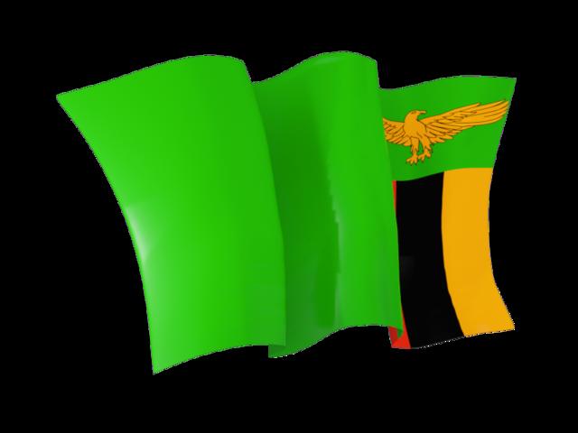 Waving flag. Illustration of flag of Zambia.