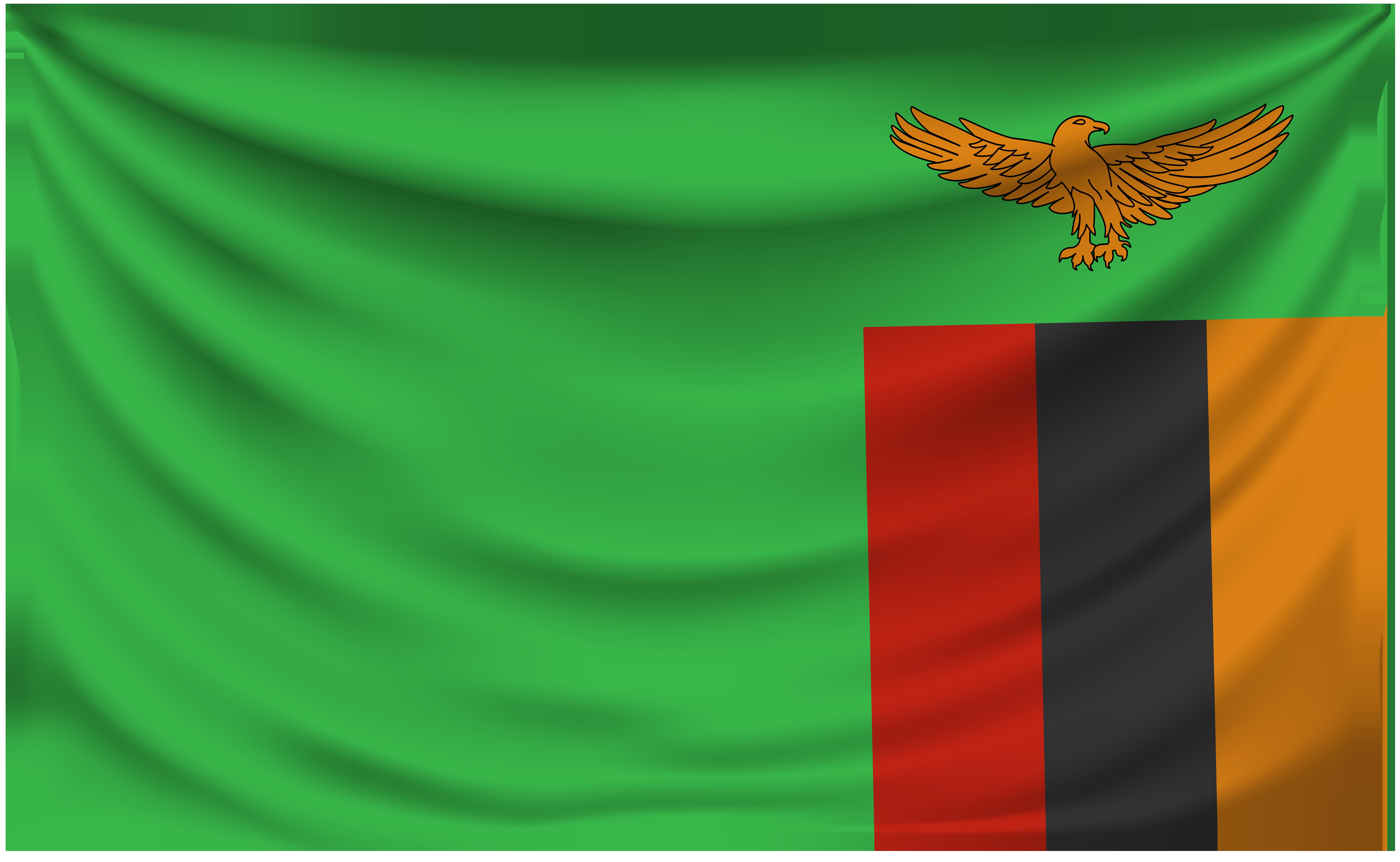 Zambia Wrinkled Flag.