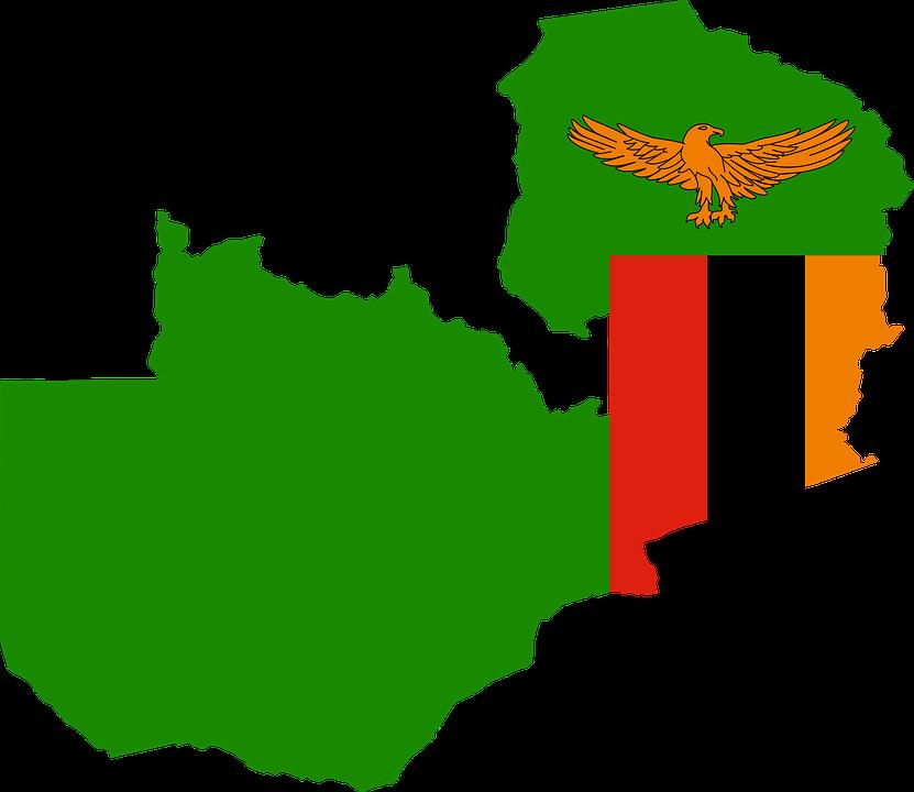 Zambia Flag Map.