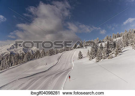 Stock Photography of Ski piste, winter forest, Venet, Zams.