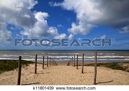 Stock Photograph of path to the beach on North Sea in Zandvoort.