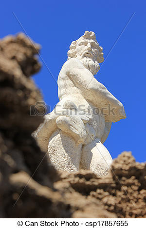 Stock Images of Neptune statue, Zante island.