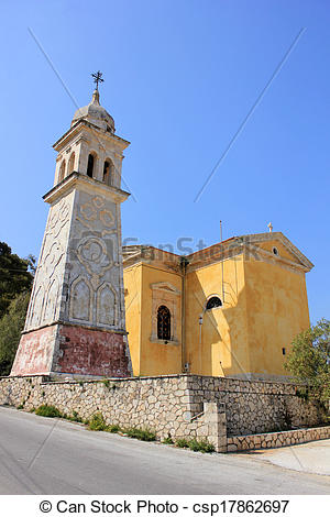 Stock Photographs of Agia Marina church, Zante island.