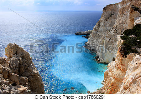 Stock Photographs of Plakaki bay, west coast of Zante.