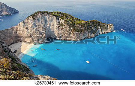 Stock Photography of Shipwrech at Navagio beach, Zakinthos, Zante.