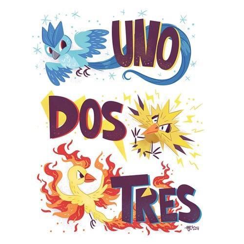 Articuno,Moltres and Zapdos Pokemon.