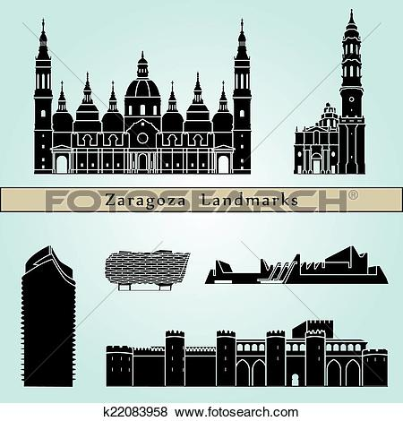 Clip Art of Zaragoza landmarks and monuments k22083958.